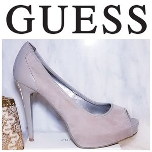 Guess HONORA PEEP TOE PLATFORM PUMPS 8 Grey Heel